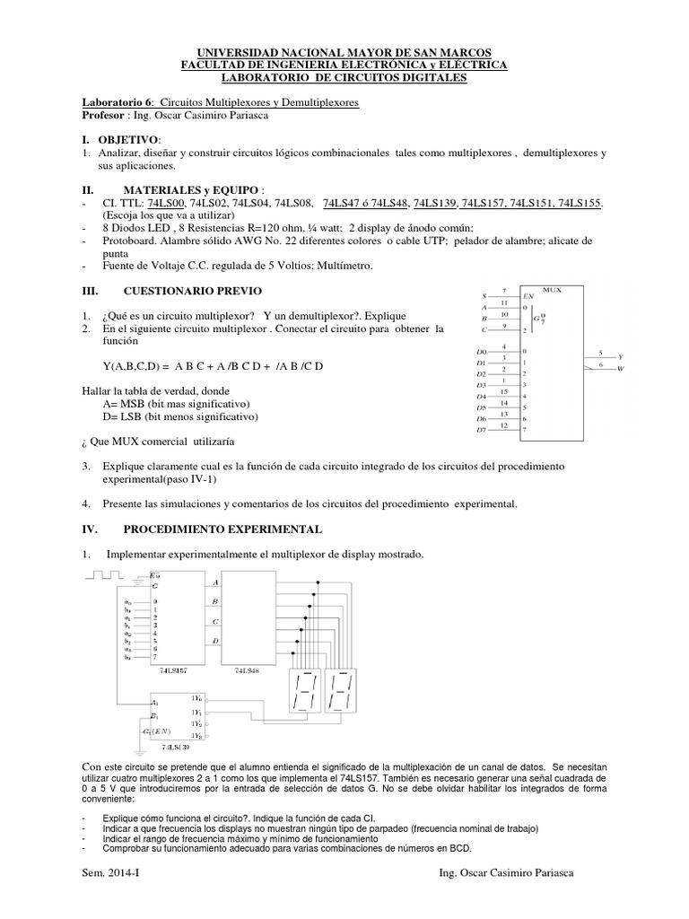 Circuito Significado : Digitales teoria de labo circuito 6 multiplexores