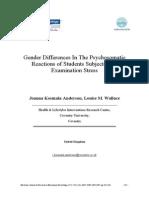 Kosmala, J. y Wallace, L. (2007) . Diferencias de Género en Las Reacciones Psicosomáticas de Los Estudiantes Afectados Por El Estrés de Los Exámenes