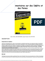 Download Commentaires Sur Des D Lits Et Des Peines Gratuit