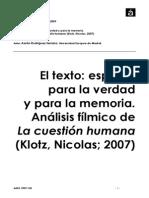 El Texto, Espacio, Verdad y Memoria. Klotz 2007