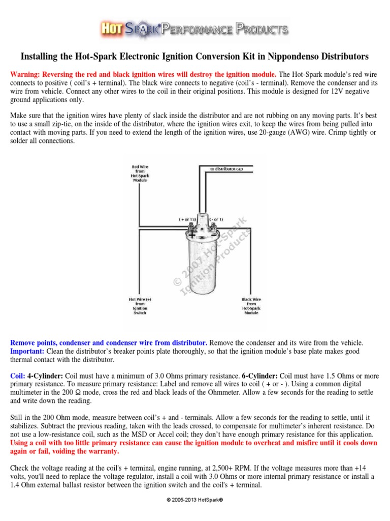 installing hot spark nippondenso ignition system distributor rh scribd com