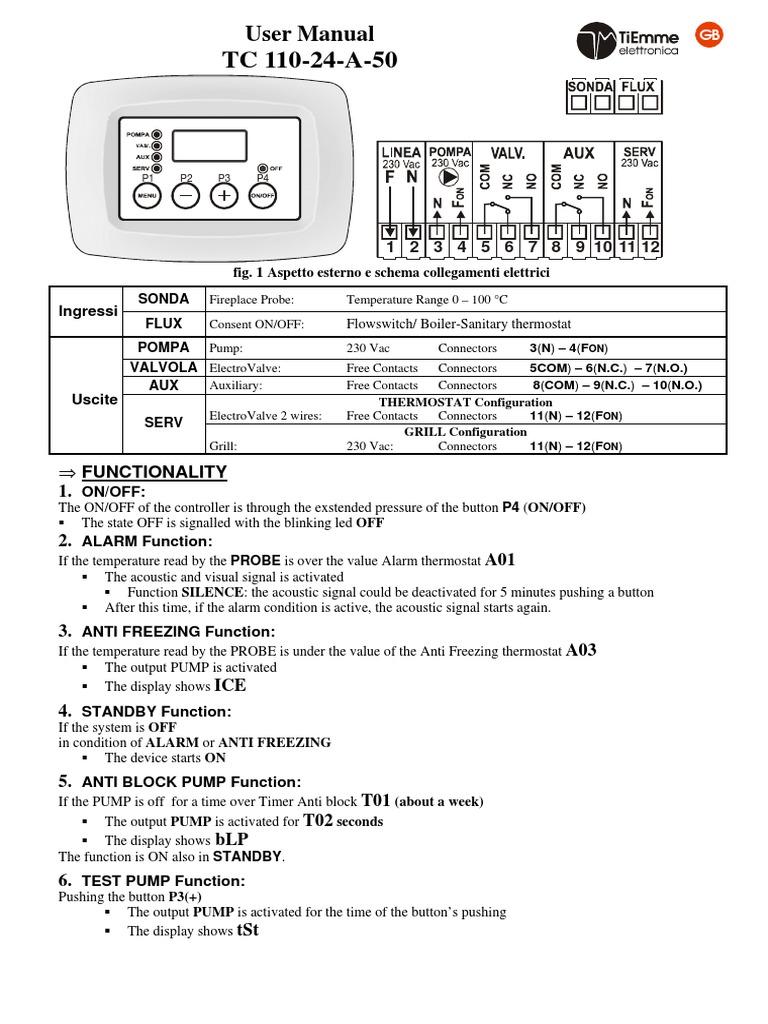Schema Elettrico Hm : Aparat tc110 thermostat pump
