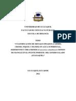 Cuantificación de Metales Pesados (Cadmio, Cromo, Níquel y Plomo) en Agua Superficial, Sedimentos y Organismos... Jiménez, David