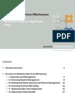 Maximizing Sales Force Effectiveness