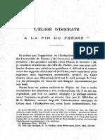 FLACELIERE (R.). L'Éloge d'Isocrate à La Fin Du Phèdre (Revue-Des-Etudes-Grecques-46-1933)