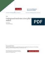 Underground Metal Mine Crown Pillar Stability Analysis