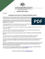 140707 Media Release - Fifield - IDPwD Patron