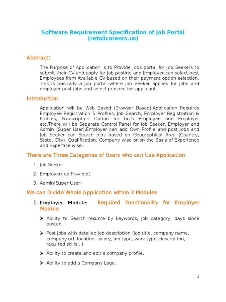 Software Requirement Specification of Job Portal | Résumé | Employment