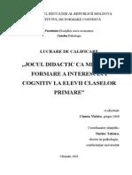Jocul Didactic CA Mijloc de Formare a Interesului Cognitiv La Elevii Claselor Primare