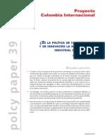 Politica Industrial y de Innovacion Para Colombia