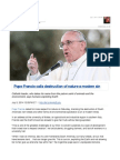 Pope Francis Calls Destruction of Nature a Modern Sin
