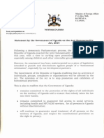 Statement by Uganda Govt on Anti Homosexuality Act