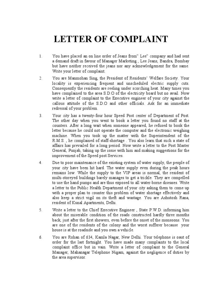 Complaints Letter Format  Complaint Letters Template