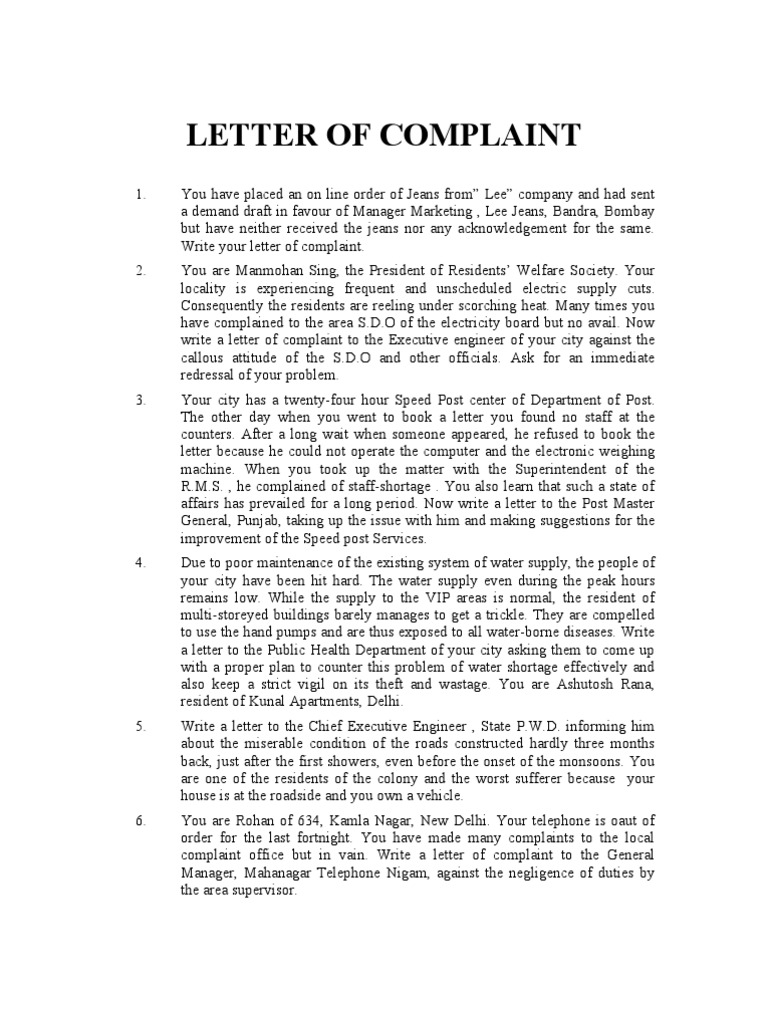 Complaint Letter Format For Water Supply.  LETTER OF COMPLAINT Delhi Newspaper And Magazine