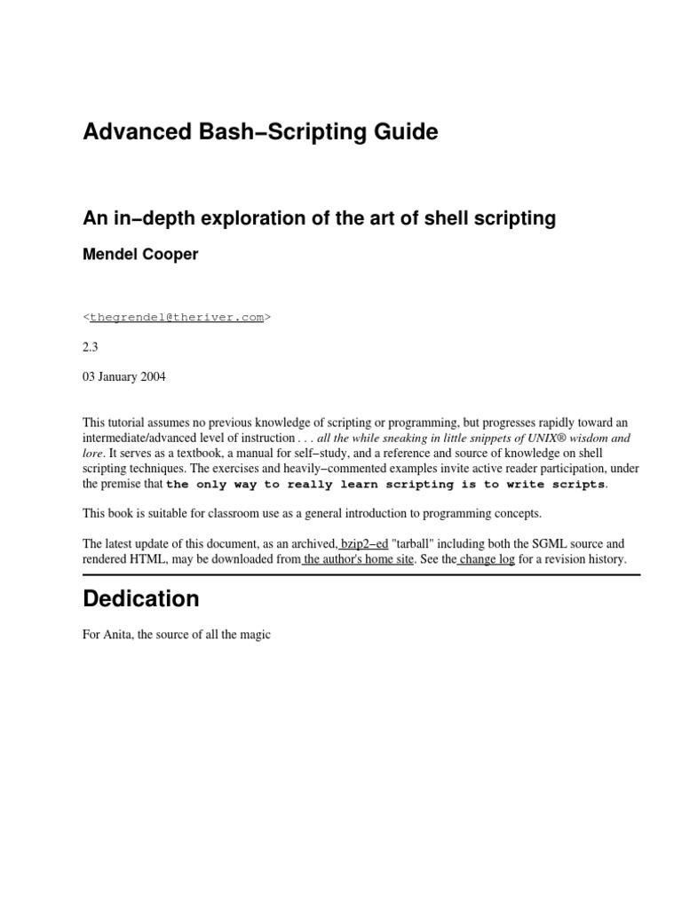 Linux - Advanced Bash Scripting Guide   Scripting Language   C