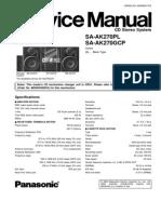 9441 Panasonic SA-AK270PL GCP Sistema Audio CD Multidisco MP3-Casette Manual de Servicio