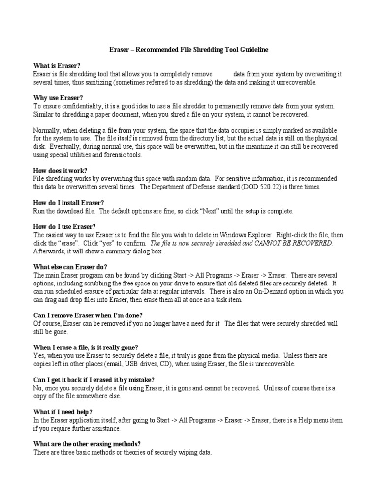 Eraser File Shredding Tool Guideline | Computer Data | Information