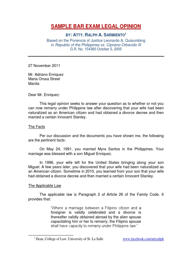 Sample legal opinion by atty ralph sarmiento divorce sample legal opinion by atty ralph sarmiento divorce naturalization thecheapjerseys Gallery