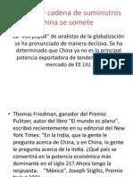 Cadena de Suministro y Logística China Domina Trabjo