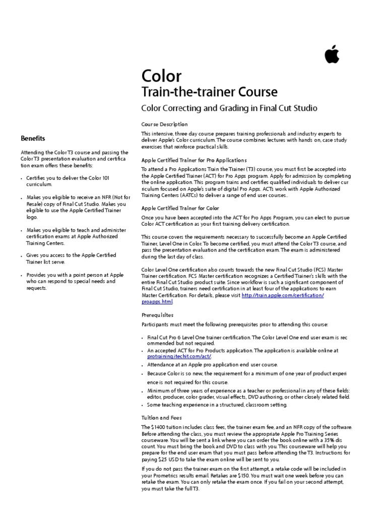 Colort3 Professional Certification Apple Inc