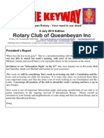 The Keyway - 9 July 2014 edition - weekly newsletter for Queanbeyan Rotary