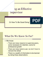 Being an Effective Supervisor