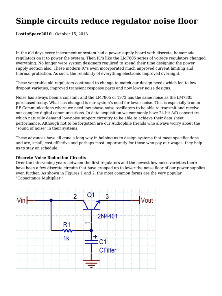 Simple Circuits Resimple Reduce Regulator Noise Floorduce Circuit For This Specification In The Form Of An Ic Or A Floor Capacitor Amplifier