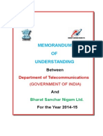 MOU Between BSNL and DOT for 2014-2015