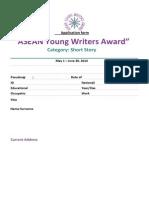 Application Form ASEAN Young Writers Award En