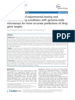 Improvement of Experimental Testing and Network Training Conditions With Genome-wide Microarrays for More Accurate Predictions of Drug Gene Targets