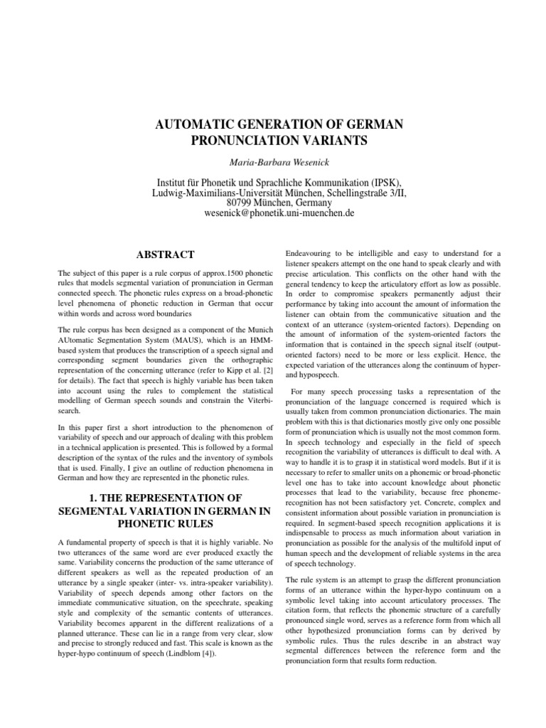 AUTOMATIC GENERATION OF GERMAN PRONUNCIATION VARIANTS
