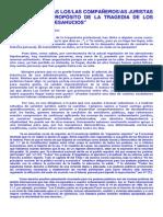 Carta a Los Compañeros Juristas a Propósito de La Tragedia de Los Desahucios