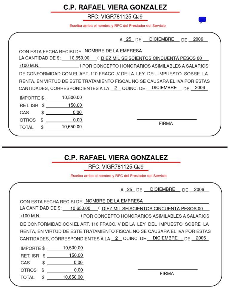 Formato honorarios asimilables a salarios for Modelo de recibo de nomina