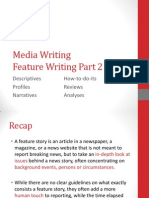 Feature Writing Part 2