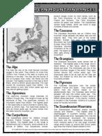 European Mountain Ranges