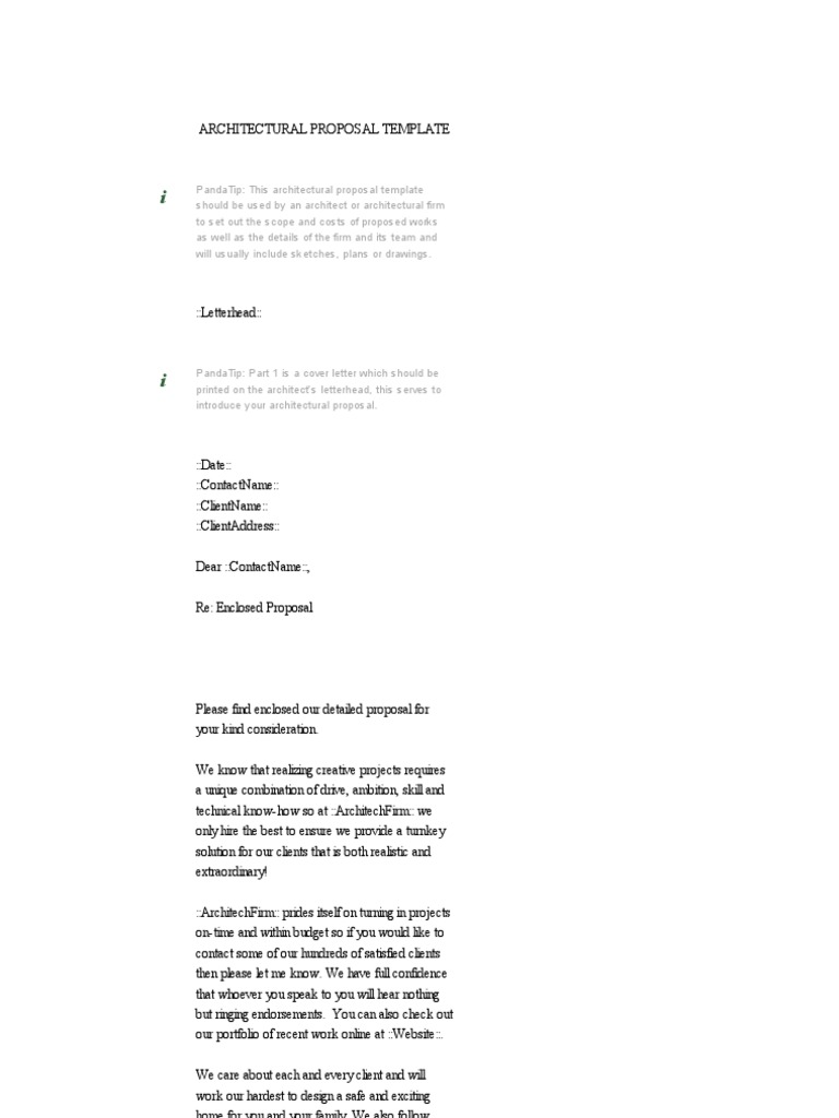 Architectural Proposal Template Download Free Sample Architect