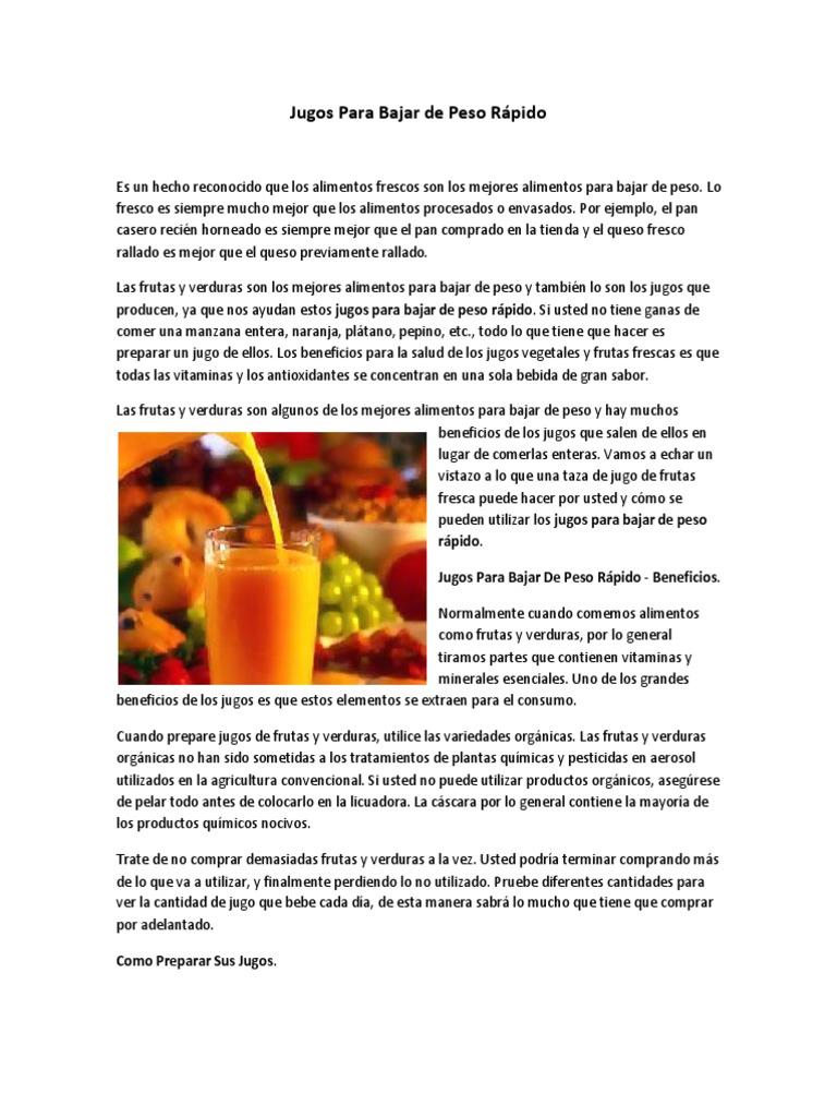 Jugo de vegetales y frutas para adelgazar