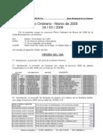 ORDEN DEL DIA PLENO MARZO 2009
