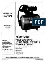 Sears Water System User Manual for Sears 390 2521 Water System
