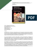 Freire- Pedagogia de La Autonomia