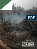 Reporte de Incendios Forestales y Quemas en Bolivia, de 2000 a 2013