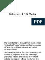 Definition of Folk Media