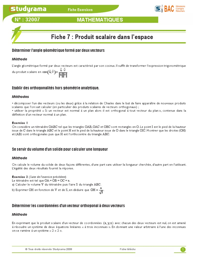 Exercice Maths S 07