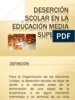 Deserción Escolar en La Educación Media Superior