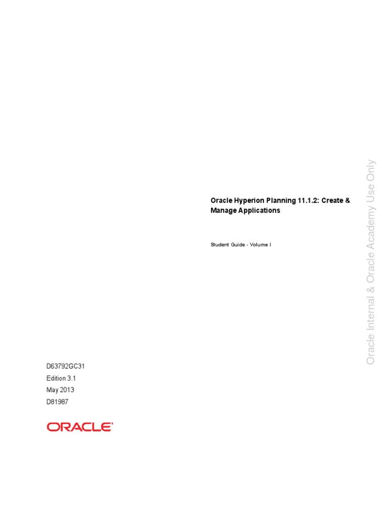 D81987 Oracle Hyperion Planning 1112 Create Manage