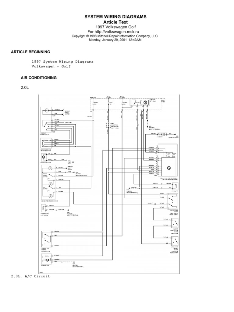Volkswagen Golf 1997 English Wiring Diagrams | Motor Vehicle | Automotive  IndustryScribd