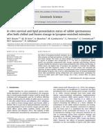In Vitro Survivalandlipidperoxidationstatusofrabbitspermatozoa After Bothchilledandfrozenstorageinlycopeneenrichedextenders