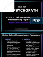 Lecture 3 Clinical Construct - Hare and the the Psychopathy Checklist-Revised