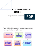 Models of Curriculum Design (Steps)