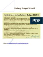 Indian Railway Budget 2014-15